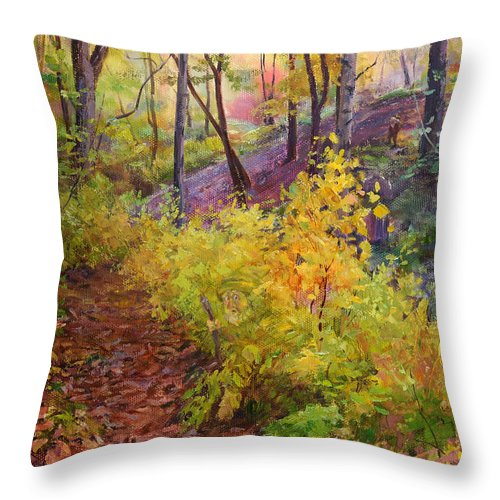 Forest Throw Pillow featuring the painting Autumn Forest by Galina Gladkaya