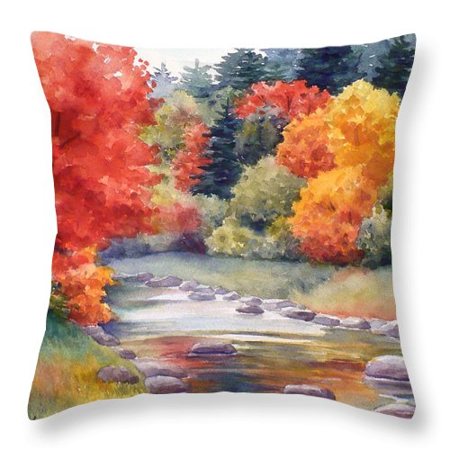 Landscape Throw Pillow featuring the painting Autumn Glory by Janet Zeh