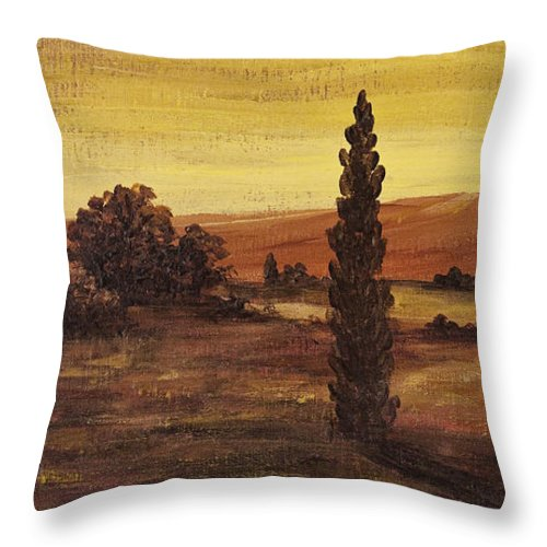 Landscape Throw Pillow featuring the painting Autumn Glow by Darice Machel McGuire