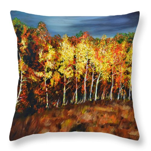 Landscape Throw Pillow featuring the painting Autumn Gold by George Sielski
