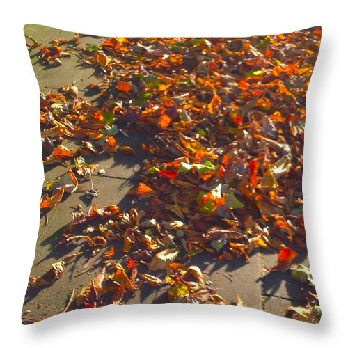 Leaves Throw Pillow featuring the photograph Autumn Gold by Joan-Violet Stretch