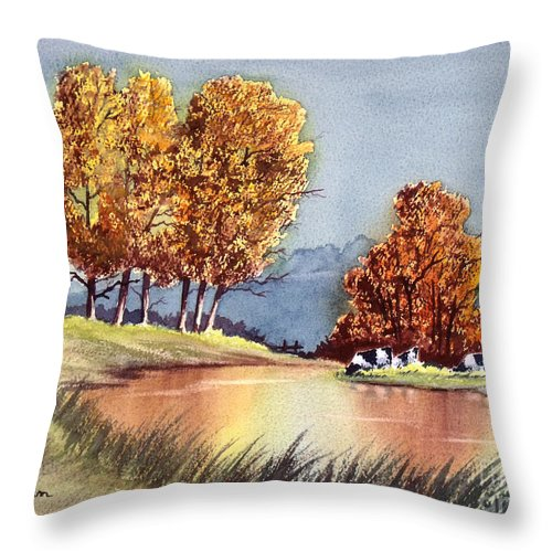 Bill Holkham Throw Pillow featuring the painting Autumn Golds by Bill Holkham