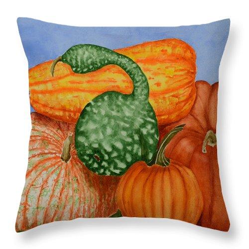Pumpkin Throw Pillow featuring the painting Autumn Harvest by Rhonda Leonard