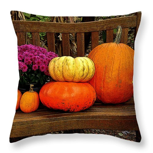 Fine Art Throw Pillow featuring the photograph Autumn Harvest by Rodney Lee Williams