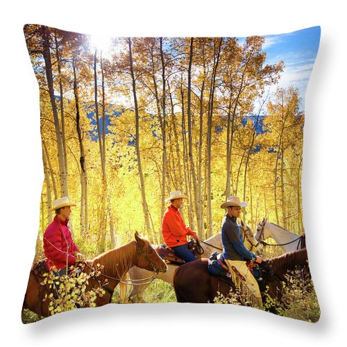 Horse Throw Pillow featuring the photograph Autumn Horseback Riding by Amygdala imagery