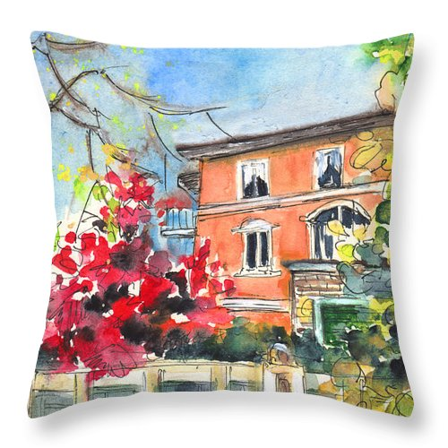 Travel Throw Pillow featuring the painting Autumn In Bergamo 01 by Miki De Goodaboom