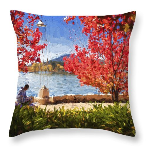Autumn Throw Pillow featuring the photograph Autumn in Canberra by Sheila Smart Fine Art Photography