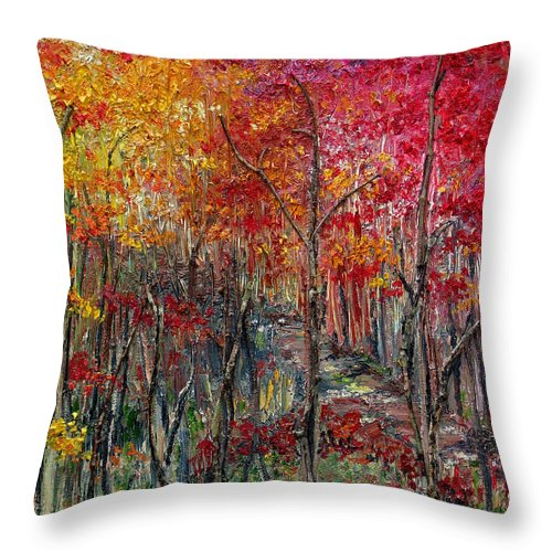 Autumn Throw Pillow featuring the painting Autumn In The Woods by Karin Dawn Kelshall- Best