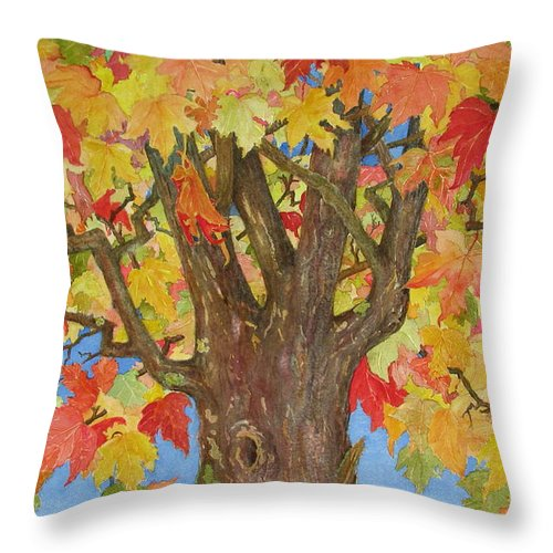 Leaves Throw Pillow featuring the painting Autumn Leaves 1 by Mary Ellen Mueller Legault