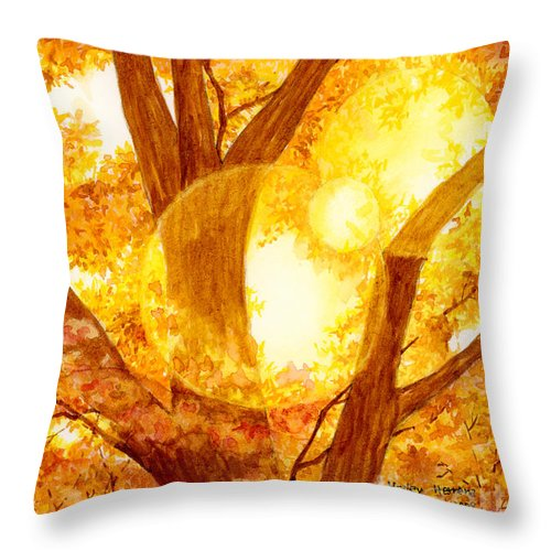 Tree Throw Pillow featuring the painting Autumn Light by Hailey E Herrera
