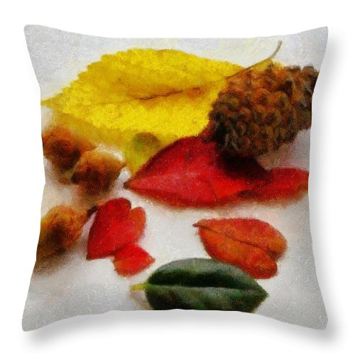 Acorn Throw Pillow featuring the painting Autumn Medley by Jeffrey Kolker