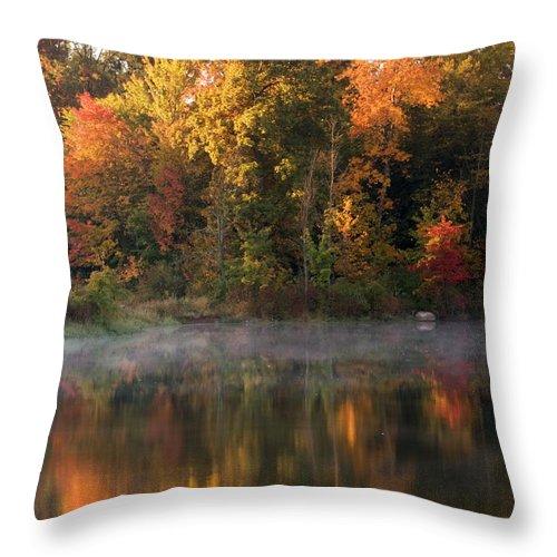 Landscape Throw Pillow featuring the photograph Autumn Morning by Amanda Kiplinger