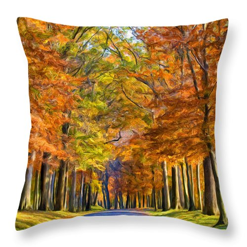 Autumn Throw Pillow featuring the painting Autumn Morning by Dominic Piperata
