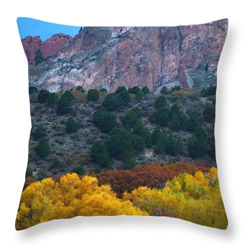 Garden Of The Gods; Autumn Throw Pillow featuring the photograph Autumn Of The Gods by Steve Krull