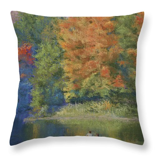 Autumn Throw Pillow featuring the pastel Autumn On The Lake by Marna Edwards Flavell