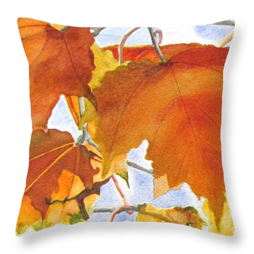 Autumn Throw Pillow featuring the painting Autumn Outside My Window by Jean Lejcher