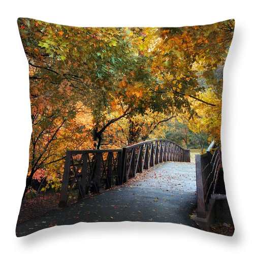 Autumn Throw Pillow featuring the photograph Autumn Overpass by Jessica Jenney