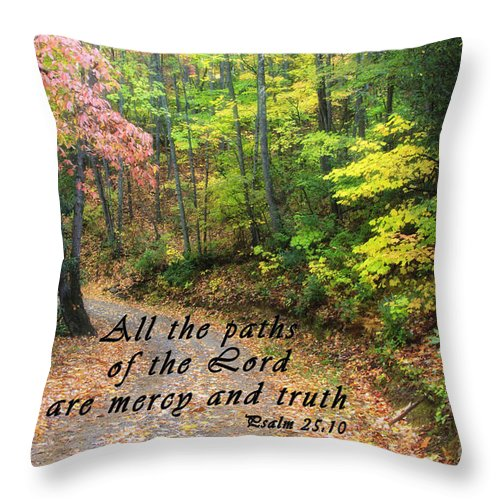 North Throw Pillow featuring the photograph Autumn Path With Scripture by Jill Lang