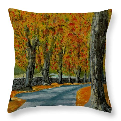 Autumn Throw Pillow featuring the painting Autumn Pathway by Anthony Dunphy