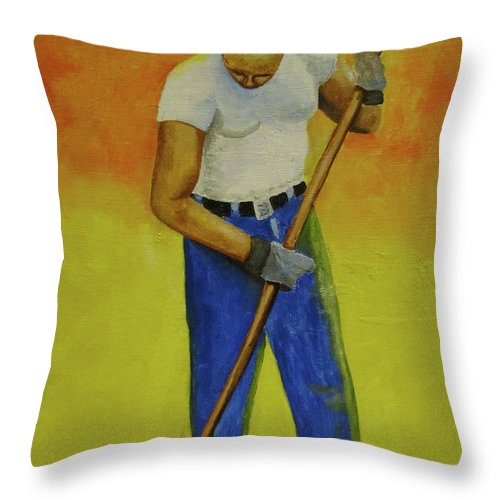 Landscape Throw Pillow featuring the painting Autumn Raking by Thomas J Herring