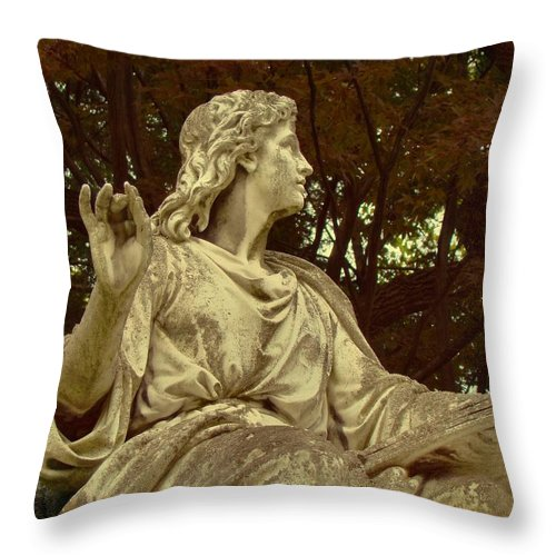 Mount Hope Cemetery Throw Pillow featuring the photograph Red Autumn Sculpture by Gothicrow Images