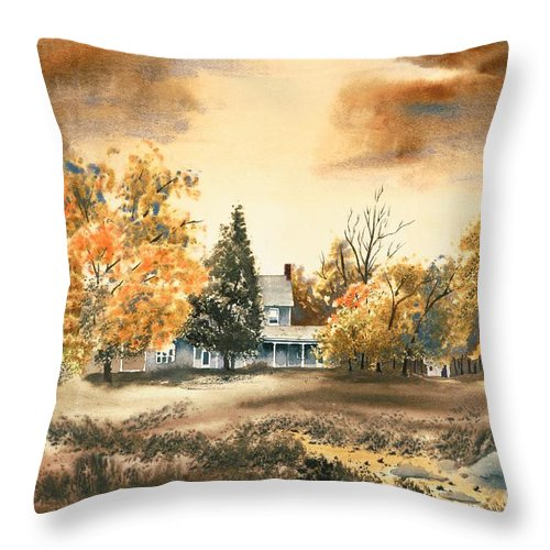 Autumn Sky No W103 Throw Pillow featuring the painting Autumn Sky No W103 by Kip DeVore