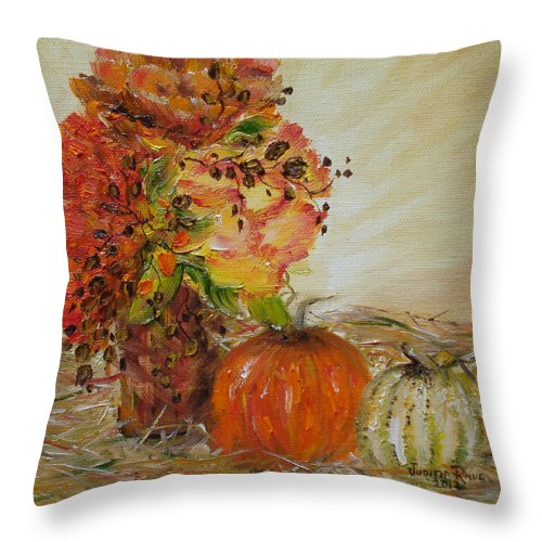 Autumn Throw Pillow featuring the painting Autumn Sunrise by Judith Rhue