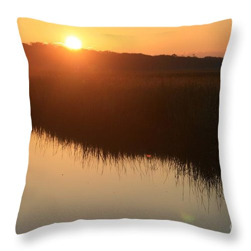 Sunrise Throw Pillow featuring the photograph Autumn Sunrise Over The Marsh by Nadine Rippelmeyer