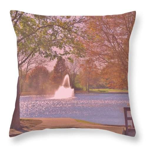Park Throw Pillow featuring the photograph Autumn Time In The Park by Donna Wilson