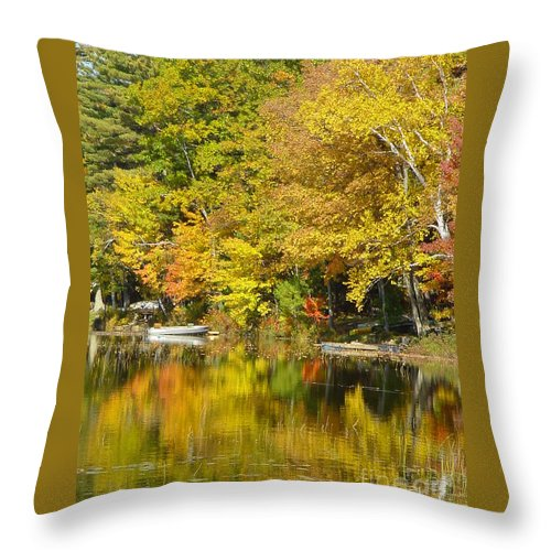 Autumn Throw Pillow featuring the photograph Autumn Yellow Reflections by Nancie Johnson