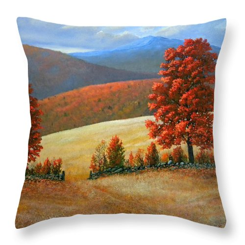 Landscape Throw Pillow featuring the painting Autumns Glory by Frank Wilson