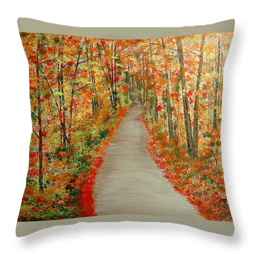 Landscape - Nature Throw Pillow featuring the painting Autumn's moment by Marco Morales