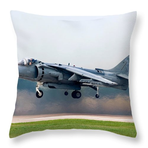 3scape Throw Pillow featuring the photograph Av-8b Harrier by Adam Romanowicz