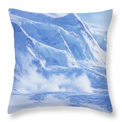 Alaska Throw Pillow featuring the photograph Avalanche At A Distance by Heath Korvola