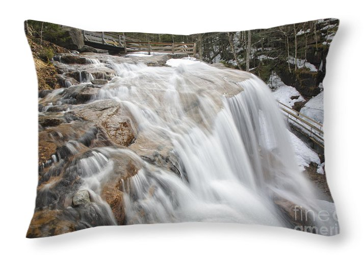 Franconia Notch Throw Pillow featuring the photograph Avalanche Falls - White Mountains New Hampshire Usa by Erin Paul Donovan