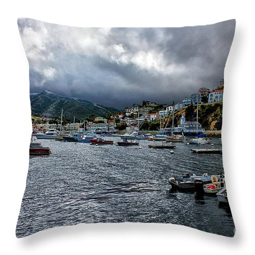 Avalon Throw Pillow featuring the photograph Avalon Harbor by Stefan H Unger