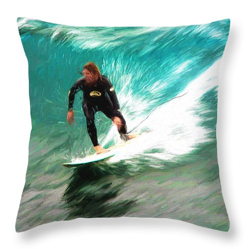 Surfer Throw Pillow featuring the photograph Avalono surfer by Sheila Smart Fine Art Photography