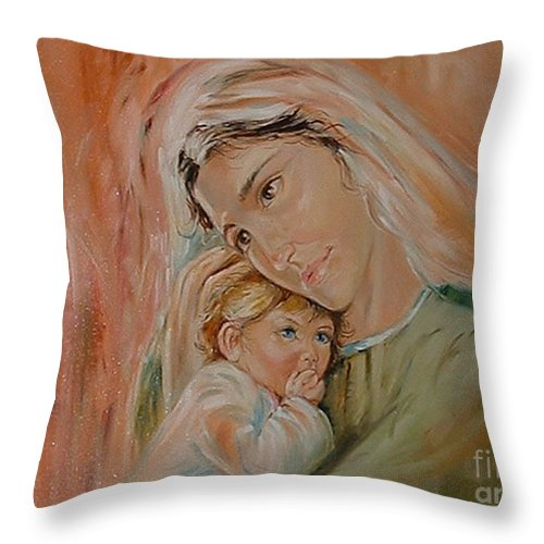 Classic Art Throw Pillow featuring the painting Ave Maria by Silvana Abel