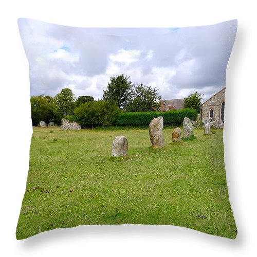 Avebury Throw Pillow featuring the photograph Avebury Aligned Stones by Denise Mazzocco