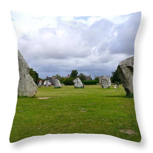 Avebury Throw Pillow featuring the photograph Avebury's Southern Entrance Stones by Denise Mazzocco