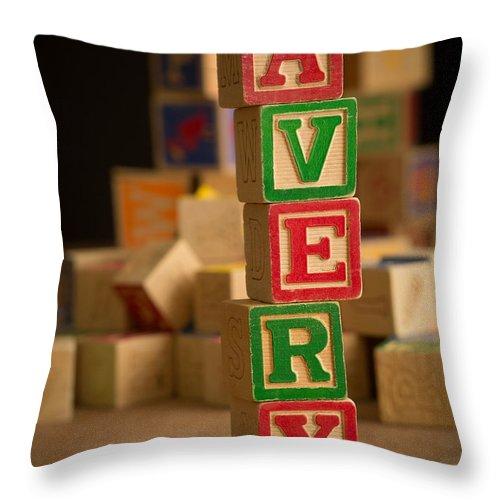 Alphabet Throw Pillow featuring the photograph Avery - Alphabet Blocks by Edward Fielding