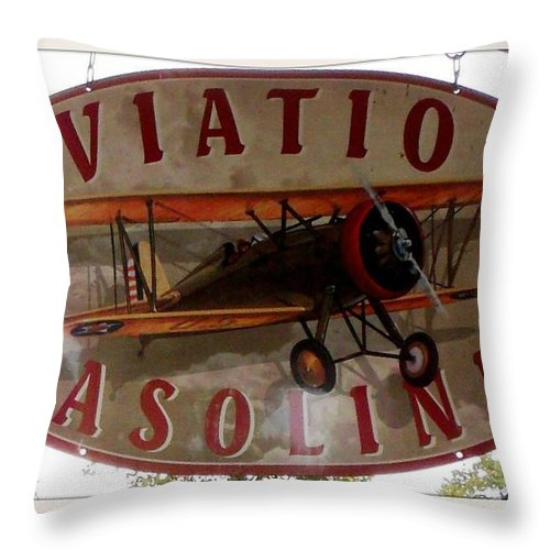Aviation Throw Pillow featuring the photograph Aviation Gasoline Sign by Gail Matthews
