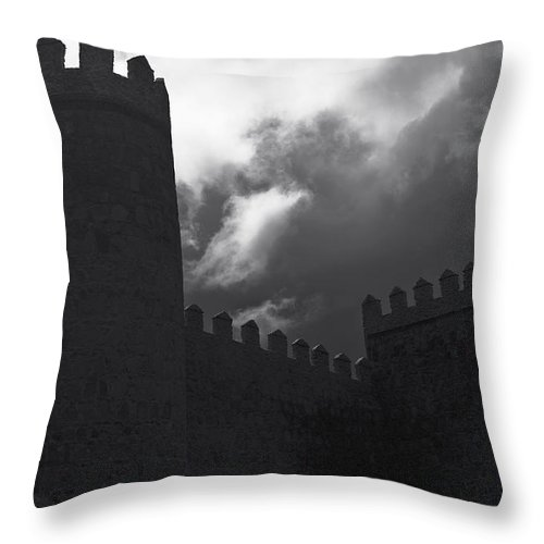 Cathedral Throw Pillow featuring the photograph Avila Wall In Silhouette by Lorraine Devon Wilke