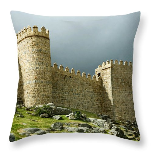 Cathedral Throw Pillow featuring the photograph Avila Wall In Sunlight by Lorraine Devon Wilke