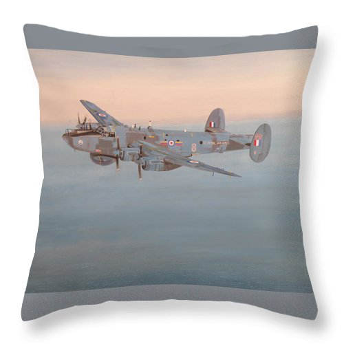 Avro Throw Pillow featuring the painting Avro Shackleton Mk.2 by Ted Denyer
