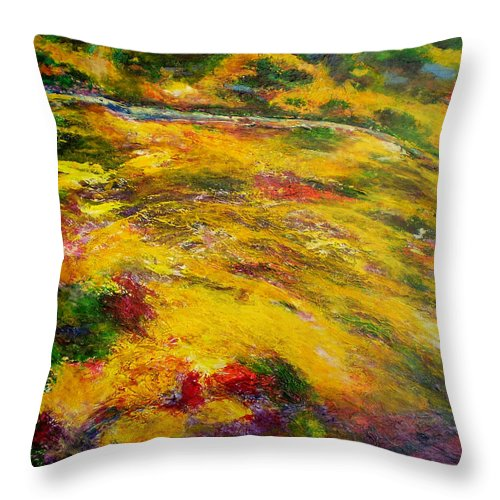 Abstract Throw Pillow featuring the painting Awakening by Michael Durst