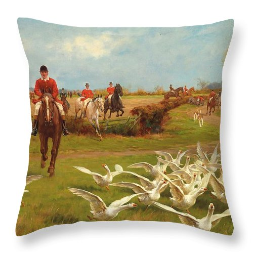 Away; Hunt; Hunting; Hunter; Hunters; Huntsmen; Mounted; Riding; Horse; Horses; Horseback; Birds; Geese; Gaggle; Landscape; Rural; Countryside; Fall; Autumn; Autumnal; Gallop; Galloping; Road; Track; Fence; Jumping; Panic; Panicking; Flapping; Speed; Sport; Sports; Away Throw Pillow featuring the painting Away Away by Thomas Blinks