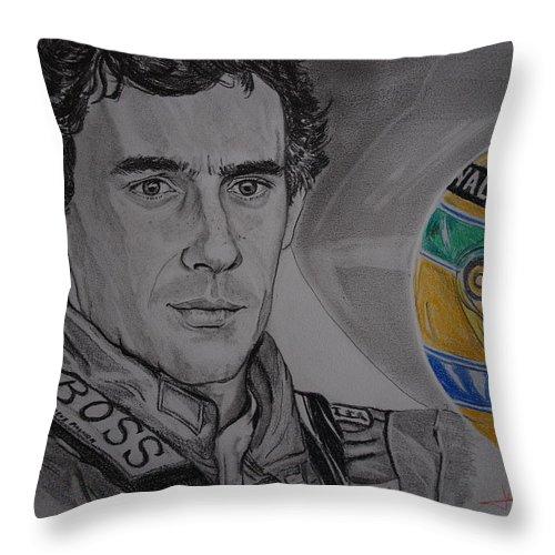 Ayrton Senna Throw Pillow featuring the drawing Ayrton Senna Portrait by Juan Mendez