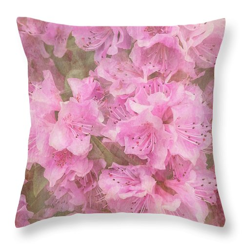 Azalea Throw Pillow featuring the photograph Azalea Textured by Arlene Carmel