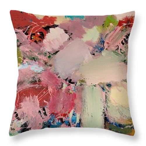Landscape Throw Pillow featuring the painting Azaleas by Allan P Friedlander